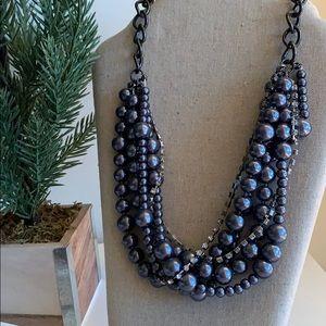 Jewelry - Metallic Dark Silver Multi-Layer Beaded Necklace
